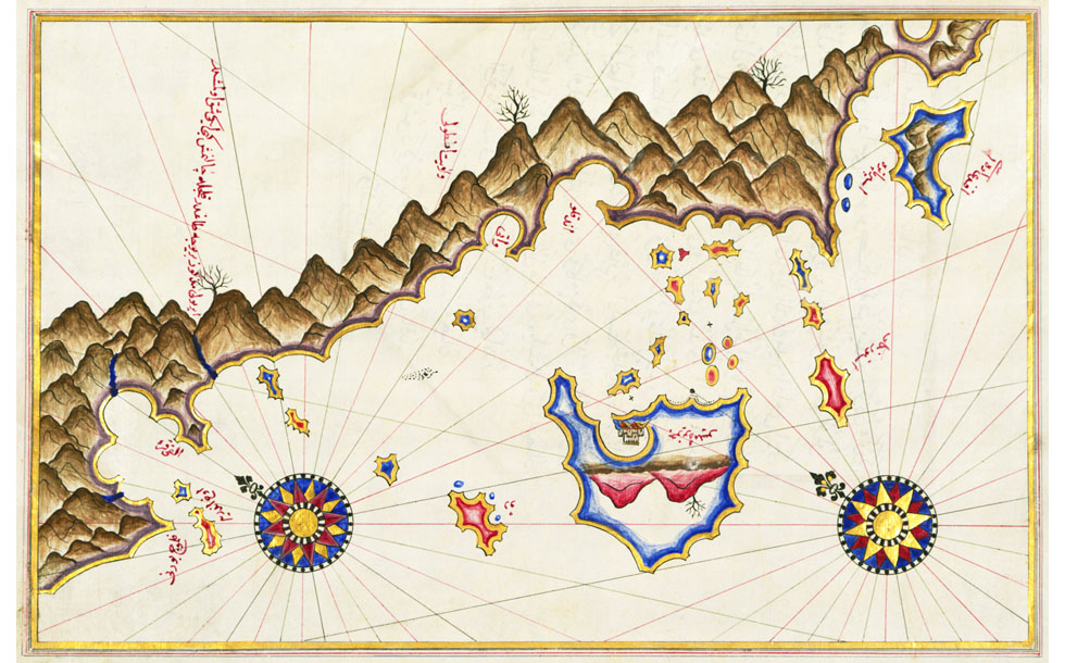 A map of Kastellorizo and the Lycian coast by Piri Reis at My Favourite Planet