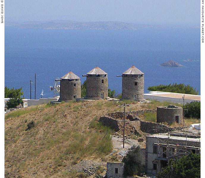 16th century windmills on the east coast of Patmos island, Greece at My Favourite Planet