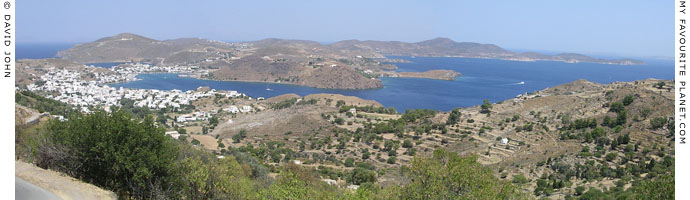 Panoramic view over Skala, the main port of Patmos island, Greece at My Favourite Planet
