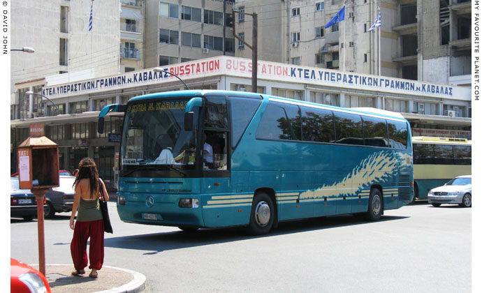 A bus departing for Drama from Kavala inter-city bus station at My Favourite Planet