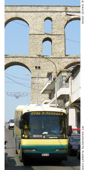 A KTEL Kavalas bus passes under the Kamares Aqueduct on the way to Xanthi at My Favourite Planet
