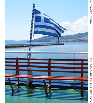 The Greek flag on a Thasos ferry at My Favourite Planet