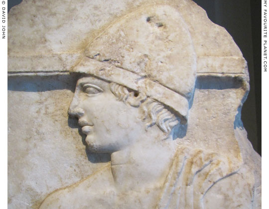 Detail of a Classical funerary relief of a soldier from Pella at My Favourite Planet