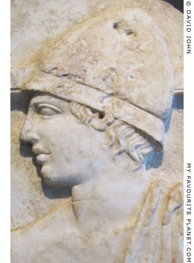 Detail of a Classical funerary relief of a soldier, from Pella at My Favourite Planet