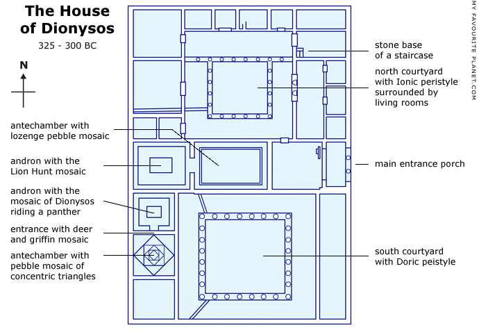 Interactive plan the House of Dionysos, Pella, Macedonia, Greece at My Favourite Planet