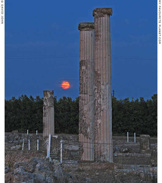 The full moon rising behind the Ionic columns of the House of Dionysos, Pella, Macedonia, Greece