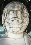 Bust of the Athenian playwright Euripides, Pella, Macedonia, Greece at My Favourite Planet