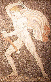 The lion of the Lion Hunt mosaic, Pella, Macedonia, Greece at My Favourite Planet