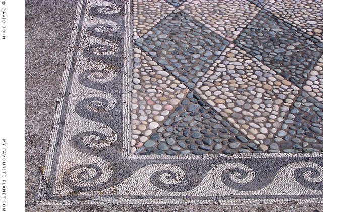 A pebble mosaic floor in the House of Dionysos, Pella archaeological site, Macedonia, Greece at My Favourite Planet