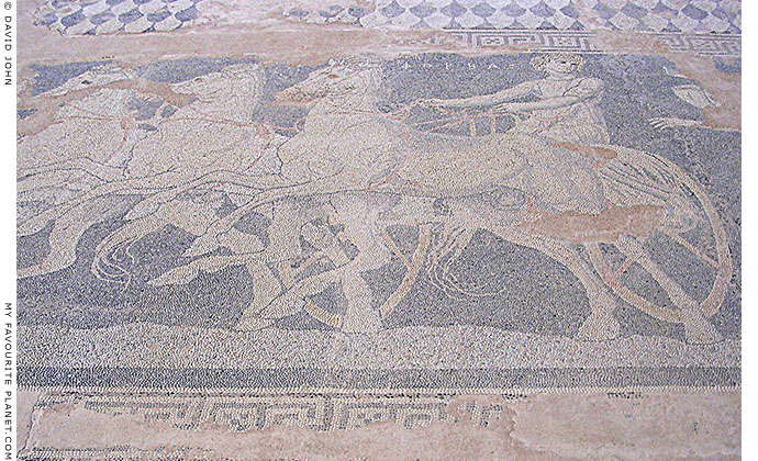Detail of the Abduction of Helen mosaic floor, Pella archaeological site, Macedonia, Greece at My Favourite Planet