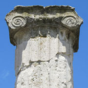 An Ionic column capital of the House of Dionysos, Pella archaeological site, Macedonia, Greece at My Favourite Planet