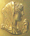 Gold medallion depicting Olympias, wife of Philip II, mother of Alexander the Great at My Favourite Planet