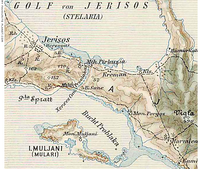 Austrian military map showing the Xerxes Canal, Halkidiki, Macedonia, Greece at My Favourite Planet