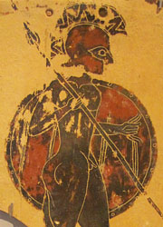 Archaic pinax from Penteskouphia, Corinth, depicting a Greek warrior