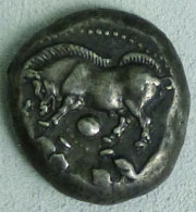 Silver incertum coin depicting a wild boar