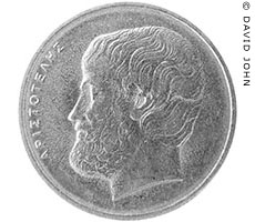 Modern Greek five Drachma coin with a portrait of Aristotle