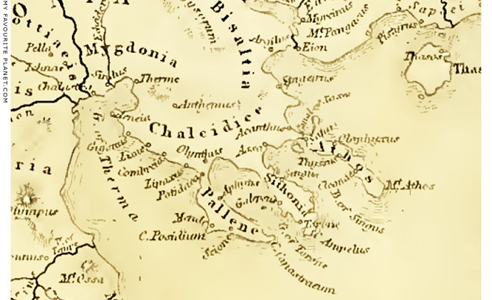 Historical map showing the position of Ancient Stageira, Halkidiki, Macedonia, Greece at My Favourite Planet