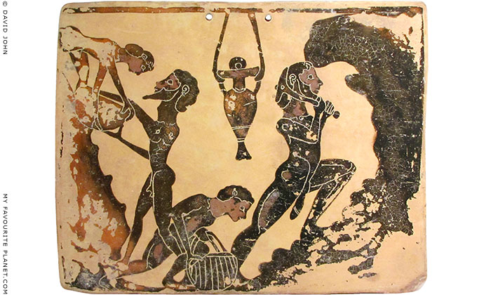 Ancient Greek quarry workers on a 7th century BC plaque (pinax) from Pente Skouphia, Corinth
