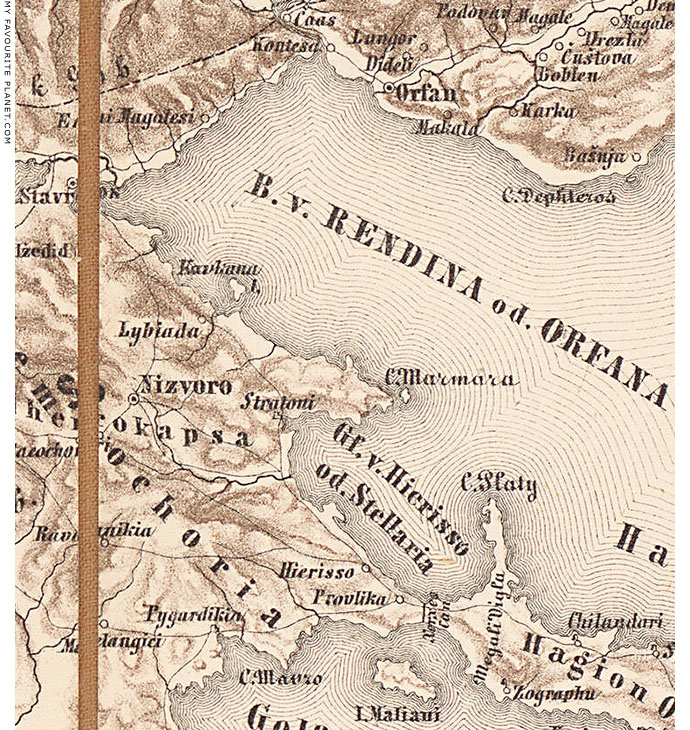 Austrian military map of north-east Halkidiki, Macedonia, Greece at My Favourite Planet