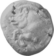 Silver drachma coin of Stageira, depicting a wild boar