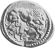 Silver tetradrachm of Stageira, depicting a lion attacking a wild boar