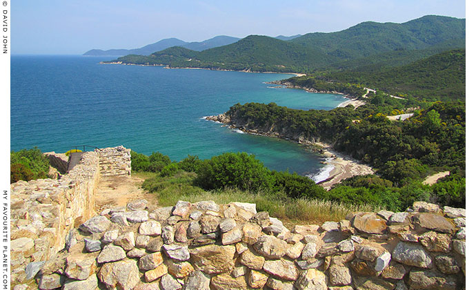 The view from Ancient Stageira's acropolis, along the northeast coast of Halkidiki, Macedonia, Greece at My Favourite Planet