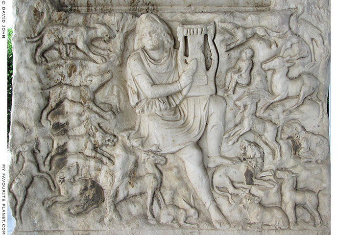 Orpheus playing music to an audience of animals at the Thessaloniki Archaeological Museum
