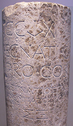 Inscription on a milestone of the Via Egnatia, mentioning Procosul Gnaeus Egnatius.