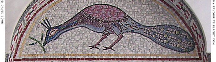 A mosaic of a peacock at the monument to Saint Paul the Apostle in Veria, Macedonia, Greece at My Favourite Planet