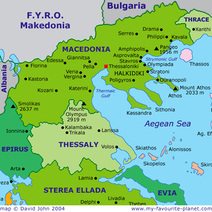 Map of Macedonia, Greece at My Favourite Planet