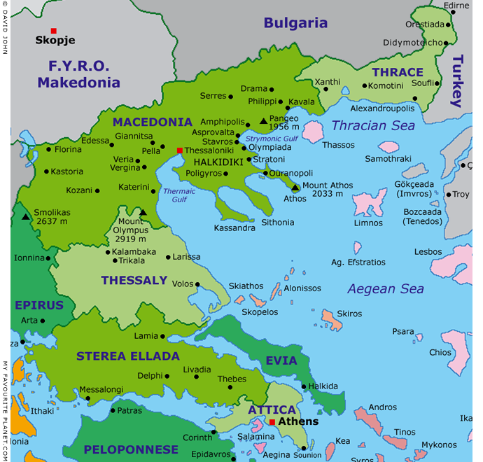 Interactive map of Central Greece, Macedonia and the North Aegean Sea at My Favourite Planet