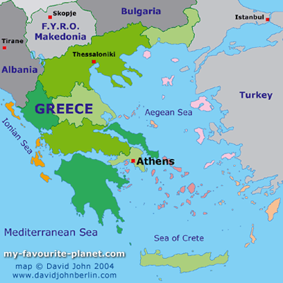 Map of Greece at My Favourite Planet