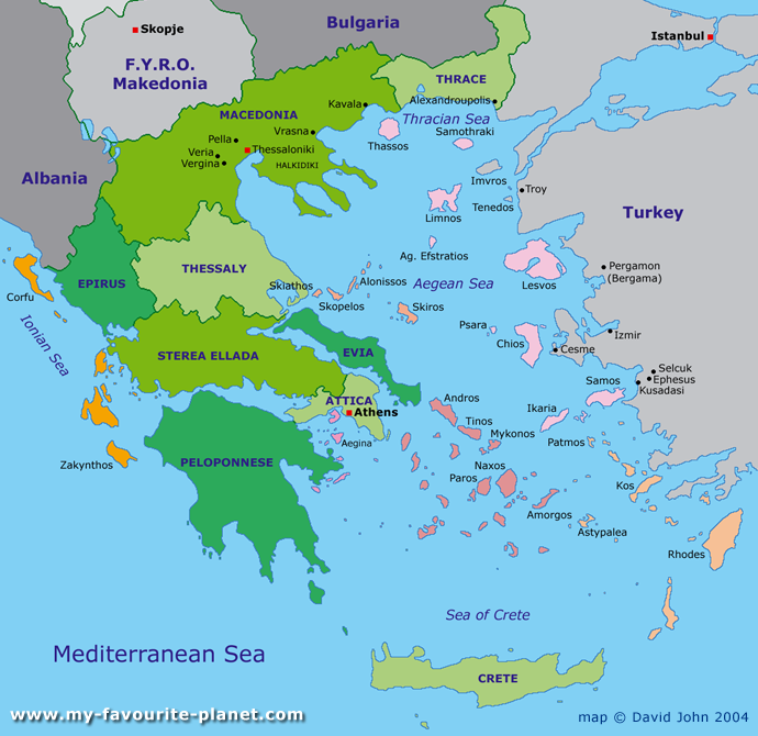 interactive map of Greece at My Favourite Planet