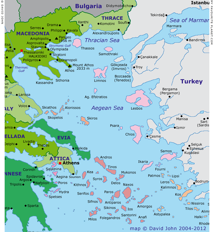 Interactive map of Macedonia, Thrace, Central Greece and the Aegean at My Favourite Planet