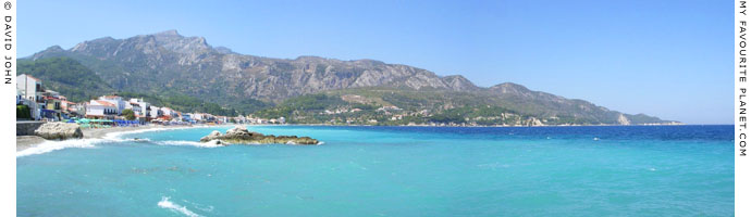 Panoramic view of the beach and coast at Kokkari, on Samos, Northern Aegean islands, Greece at My Favourite Planet