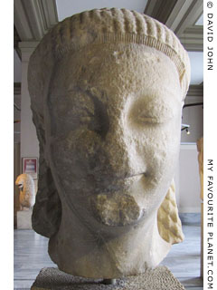 The head of a kouros statue from Samos in the Istanbul Archaeological Museum, Turkey at My Favourite Planet