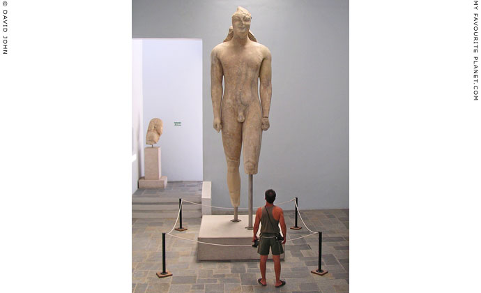 4.75 metre high kouros statue, Samos Archaeological Museum, Vathy, Samos island, Greece at My Favourite Planet