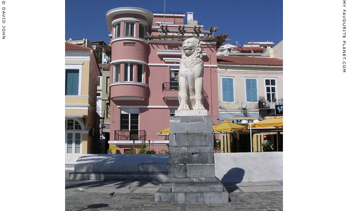 Marble lion statue on Pythagoras Square, Lower Vathy, the main town of Samos island, Greece at My Favourite Planet