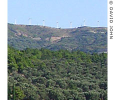 the hilltop windfarm at Agios Pandes, Marathokambos, Samos, Greece at My Favourite Planet