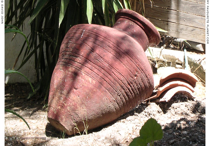 An amphora in the garden of Panagia Spiliani Monastery, Pythagorio, Samos, Greece at My Favourite Planet