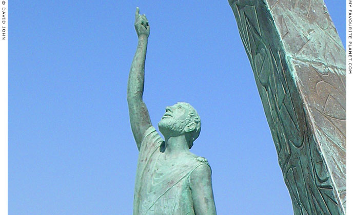 A modern statue of Pythagoras in Pythagorio harbour, Samos, Greece at My Favourite Planet