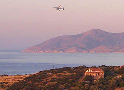 An airliner takes off from Samos Airport at My Favourite Planet