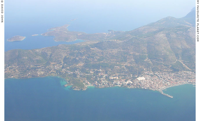 Aerial view of northeast Vathy, the main town of Samos island, Greece at My Favourite Planet