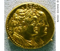 Gold oktodrachme coin with the heads of Ptolemy II and Arsinoe II of Egypt at My Favourite Planet