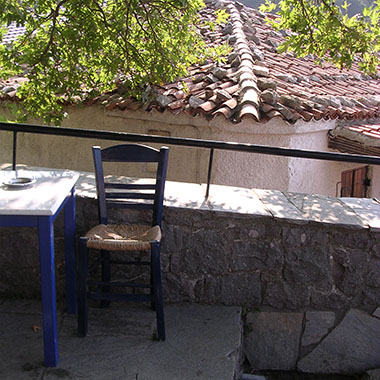 A cafe in Chora village, Samothraki island, Greece at My Favourite Planet