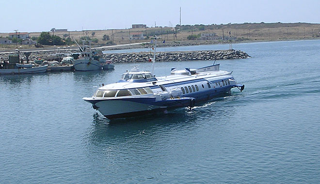 A flying dolphin hydrofoil ferry in Kamariotissa harbour, Samothraki island, Greece at My Favourite Planet