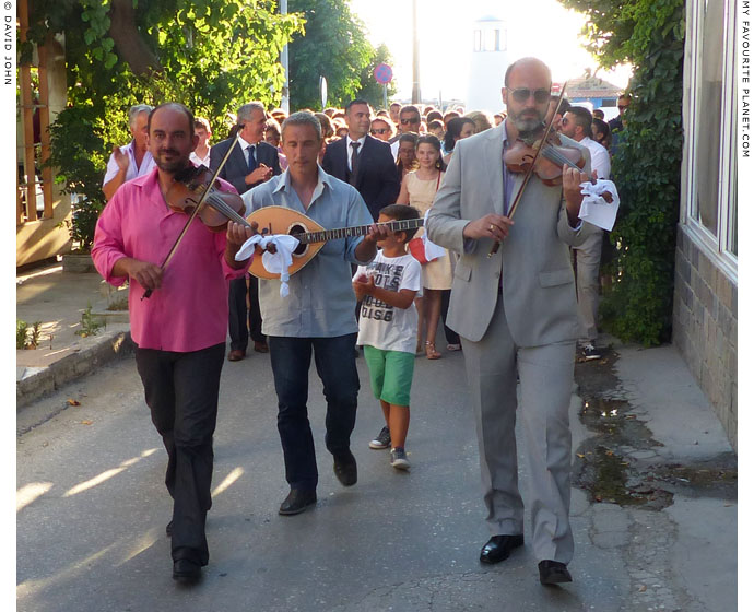 Musicians leading a wedding procession in Kamariotissa, Samothraki, Greece at My Favourite Planet