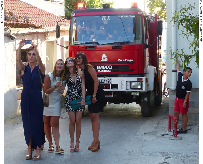 The fire brigade and selfie brigade in Kamariotissa, Samothraki, Greece at My Favourite Planet
