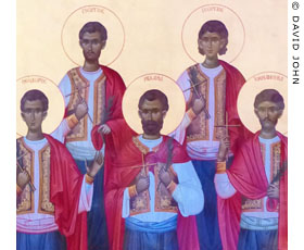An icon of the Five Martyrs of Samothraki in Alexandroupolis Cathedral, Thrace, Greece at My Favourite Planet