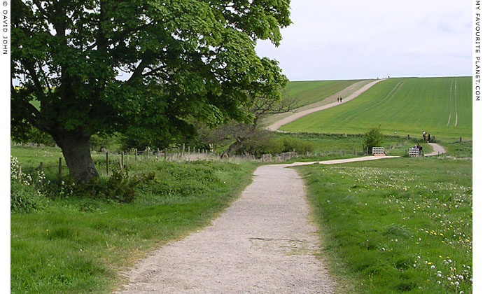 The footpath from the road (A4) to West Kennet Long Barrow, Avebury, Wiltshire at My Favourite Planet
